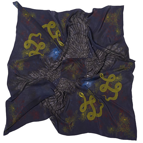Morrigan Oversized Silk Scarf: Crepe de Chine