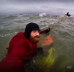 Al Mennie, tow surfer