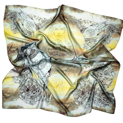 Eadach Queen Medb Print Limited Edition Oversized Silk Scarf by Sara O'Neill