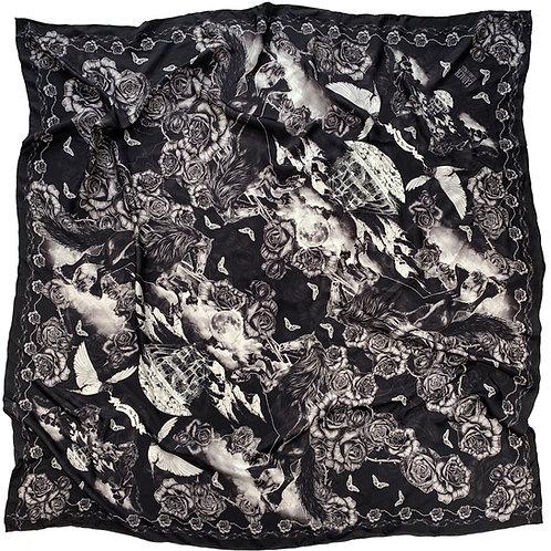 Roisin Dubh Toile Black Scarf. Silk Twill