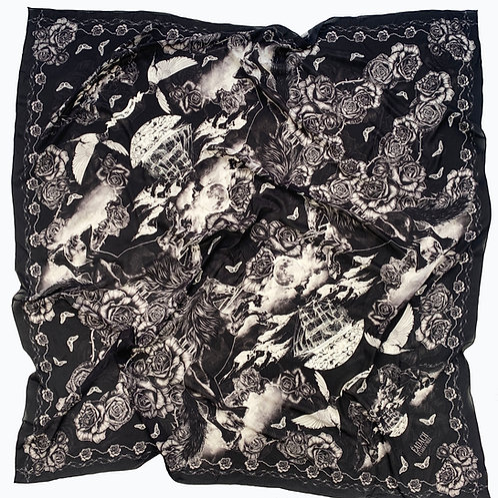 Roisin Dubh Toile Black Scarf. Crepe de Chine