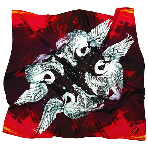 Eadach Children of Lir Print Oversized Silk Scarf by Sara O'Neill