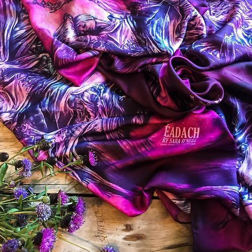 Eadach Banshee Dark Rose Print Silk Oversized Scarf by Sara O'Neill