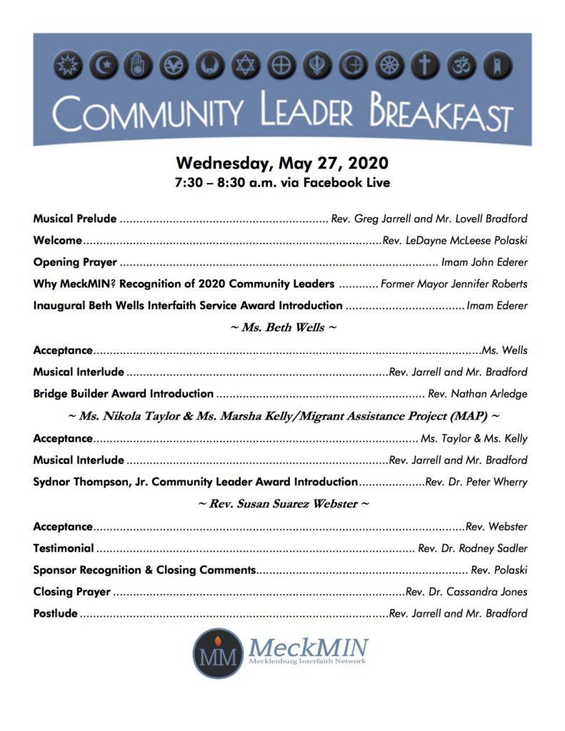 MeckMIN Community Leader Awards Breakfast 2020