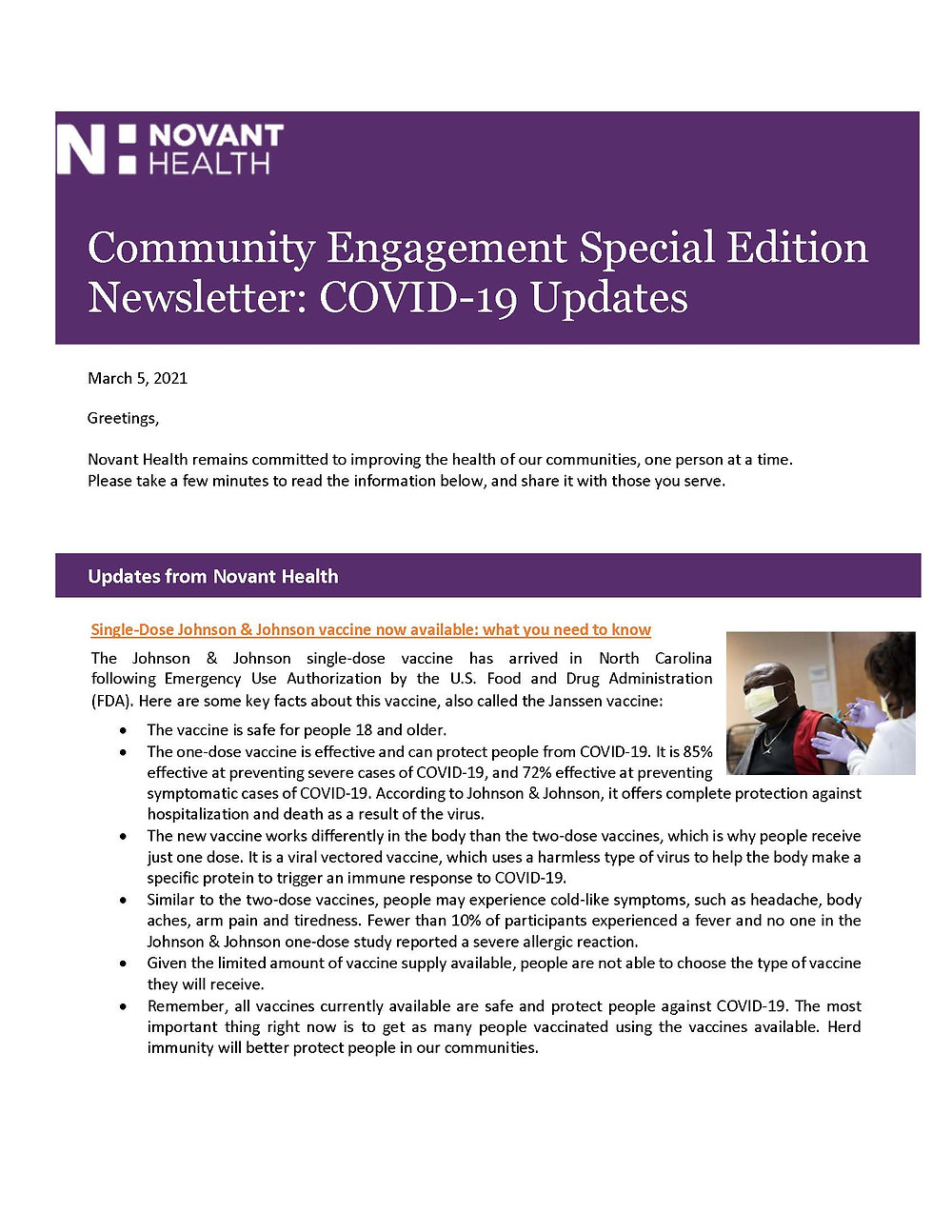Novant Health Community Engagement Covid-19 Updates