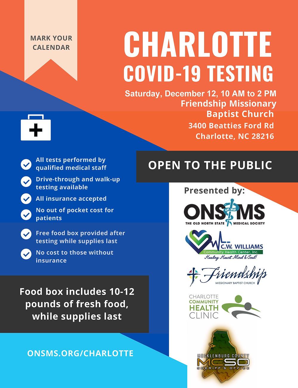 Free Covid testing Charlotte NC