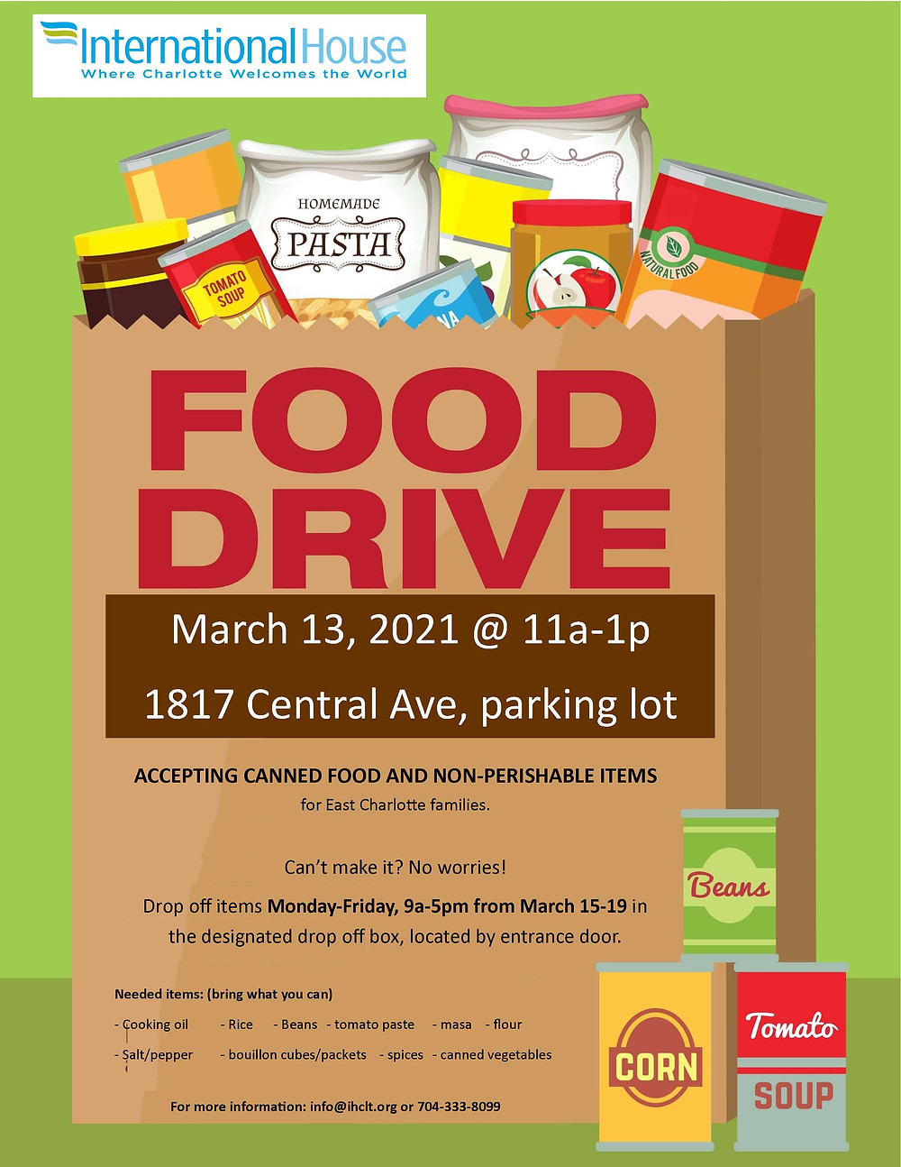 International House Food Drive March 13, 2021