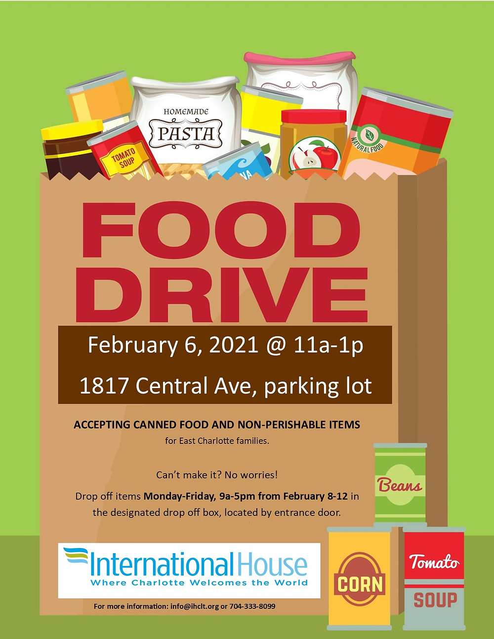 International House food drive Charlotte NC