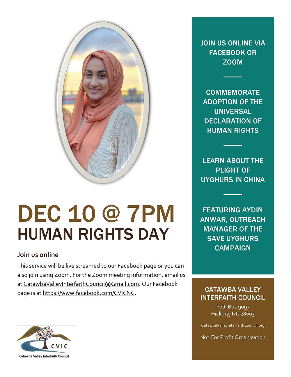 Human Rights Day Dec 10 7pm with Aydin Anwar