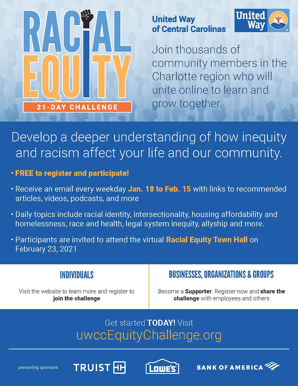 Racial Equity 21-Day Challenge, MeckMIN, United Way of Central Carolinas