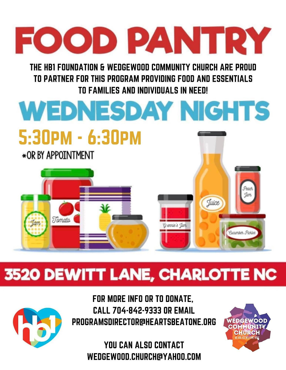 Charlotte-Mecklenburg Food Pantry HB1 Foundation, Wedgewood Community Church