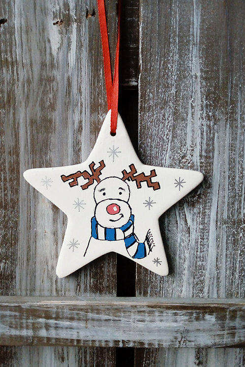 Rudolf Reindeer Ceramic Star