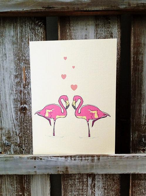 Flamingos Couple Card