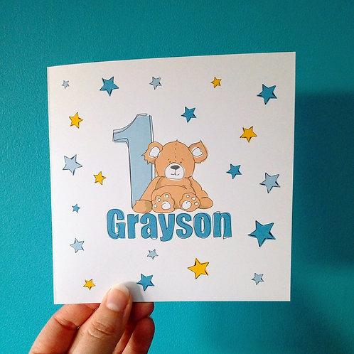 Baby Bear Birthday Card