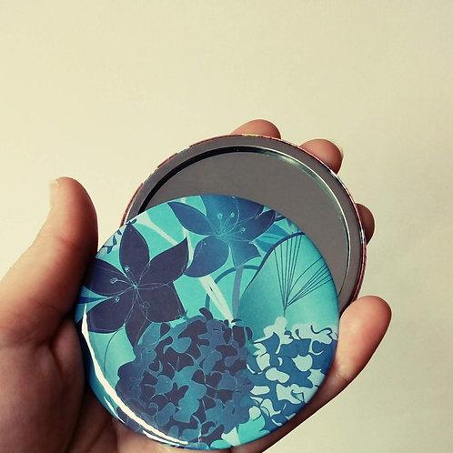 Blue Floral Pocket Mirror