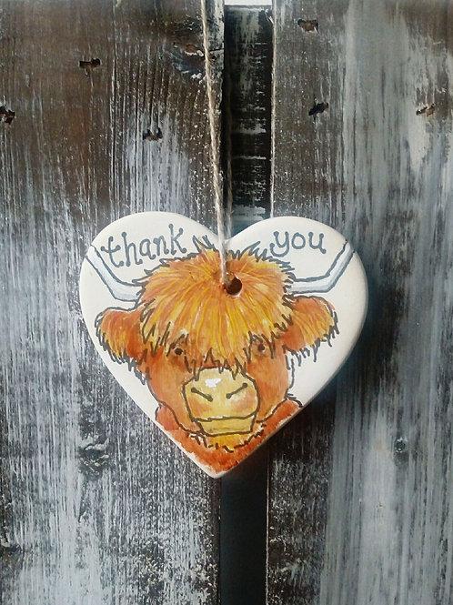 Highland Cow Ceramic Heart