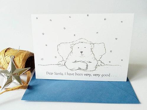 Dear Santa Polar Bear Christmas Card