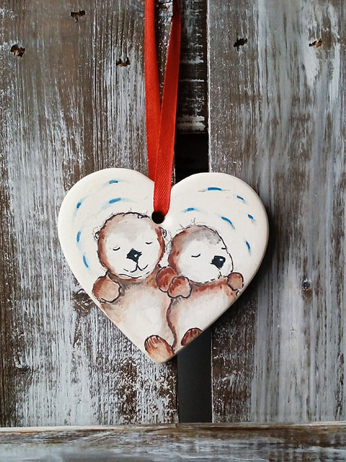 Otters Ceramic Heart