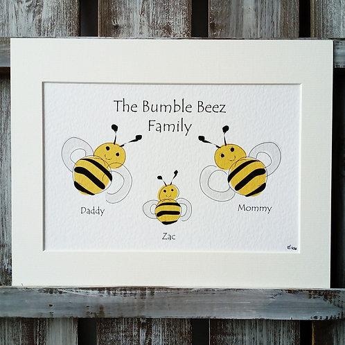 Bee Family Print