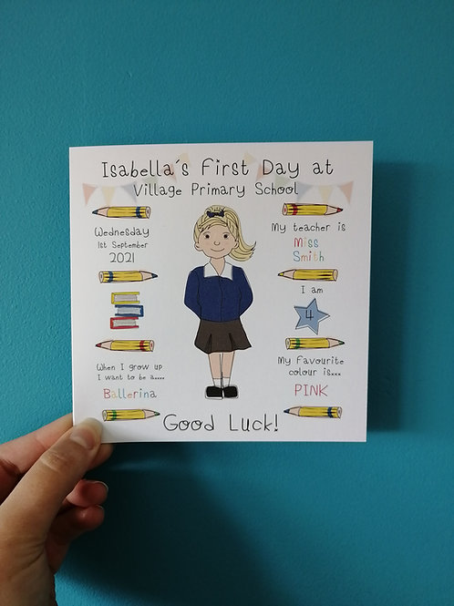 First Day at School Card & Print