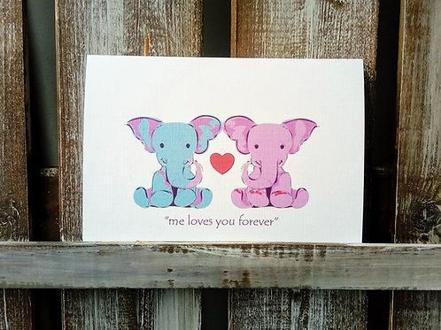 Elephant Couple Card