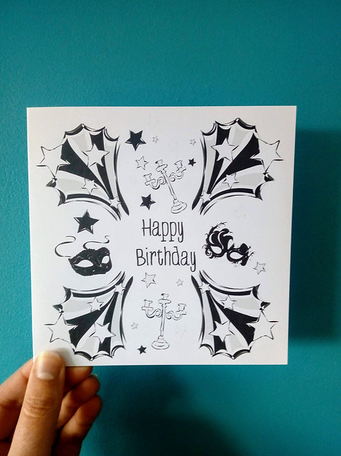 Masked Ball Happy Birthday Card