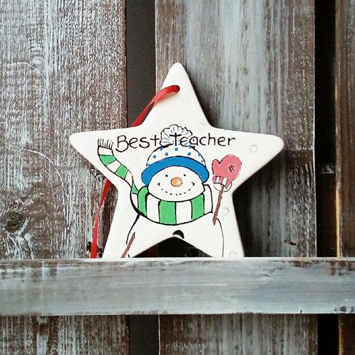 Snowman Teacher Thank you Star