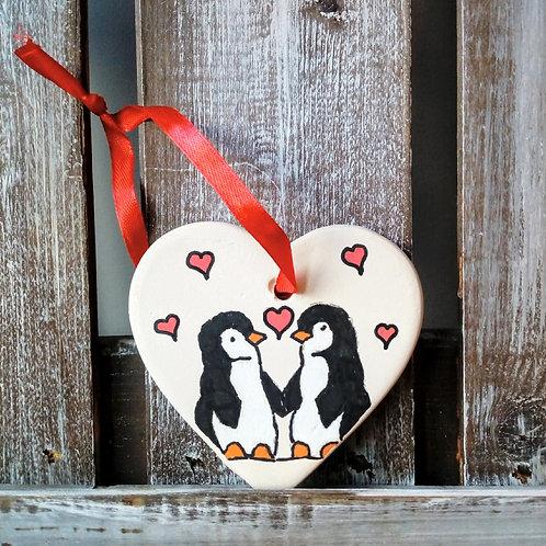 Penguins Ceramic Heart