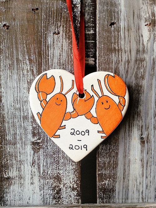 Pair of Lobsters Ceramic Heart