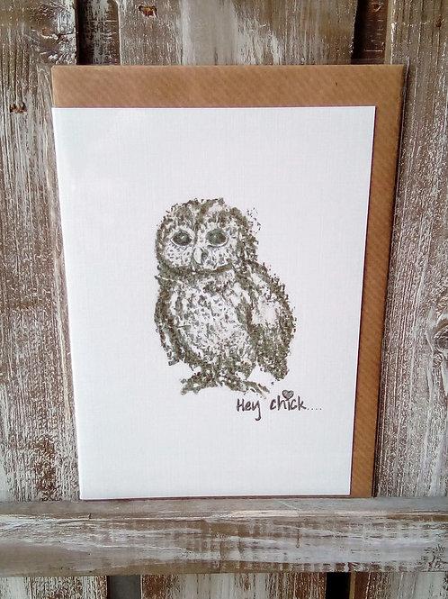 Hey Chick Owl Card
