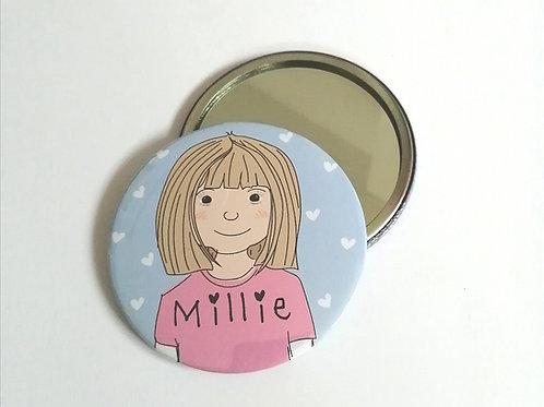 Personalised Cartoon Pocket Mirror