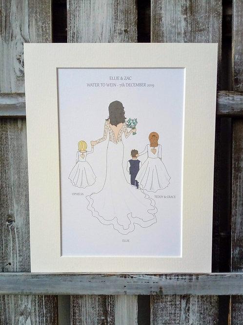 Bride, bridesmaid, flower girl & page boy