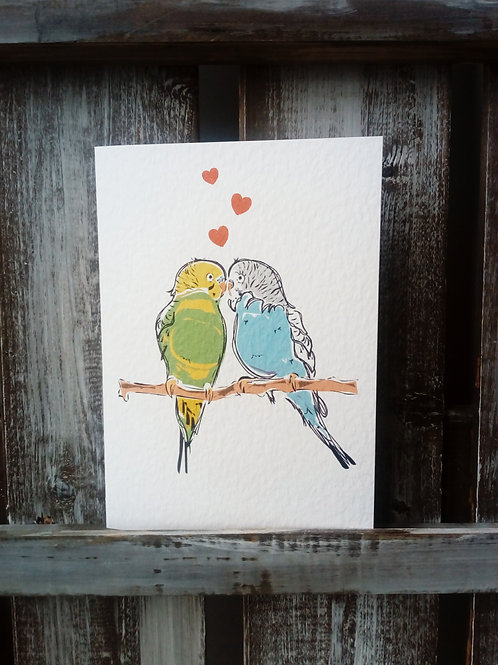 Budgies in love card and print
