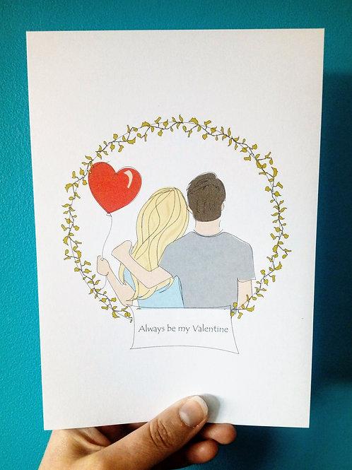 Lovey Dovey Couple Card & Print