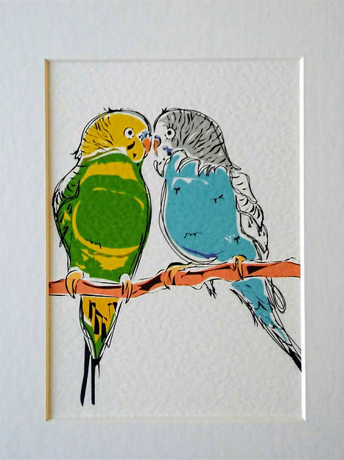 Budgie couple card & print