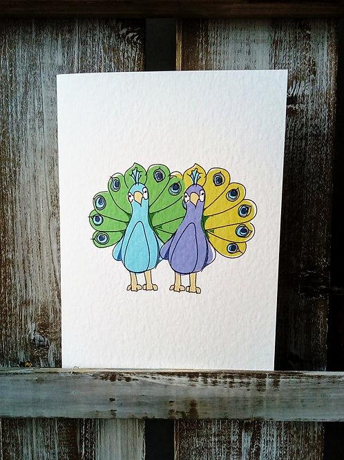 Peacocks Cute Couple Card