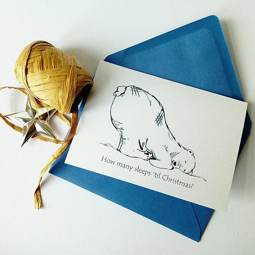 'How Many Sleeps?' Polar Bear Christmas Card