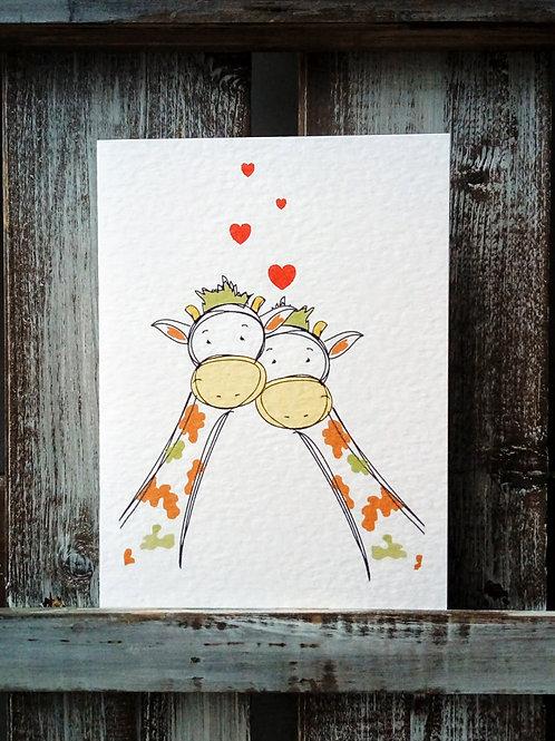 Giraffe Couple Card