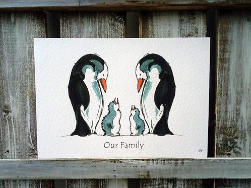 Penguin Family Print