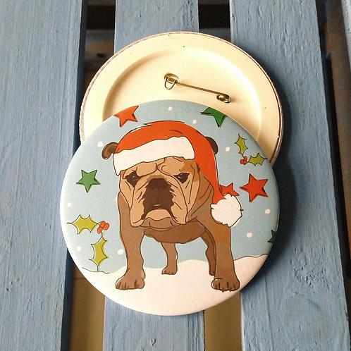 Bulldog Christmas Badge