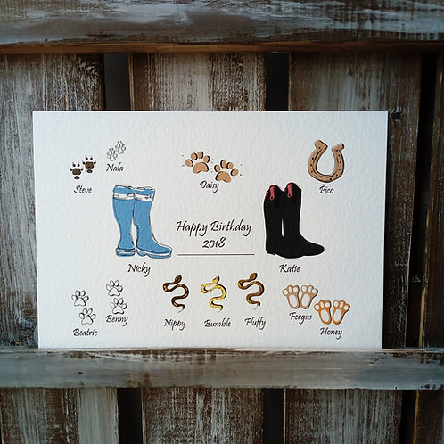 Wellies & Pet Family Print