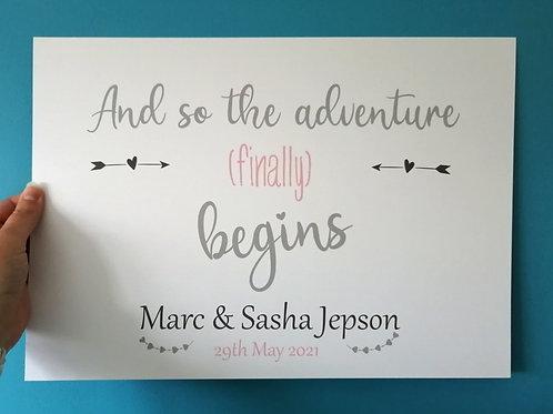 Wedding Welcome - Adventure Begins Print