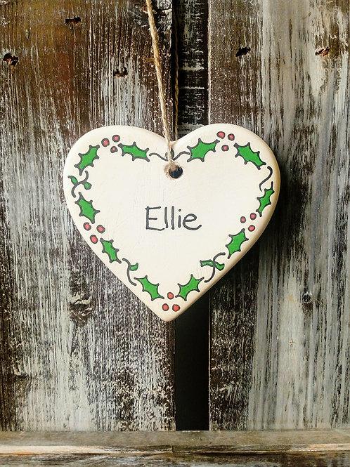 Christmas personalised ceramic heart