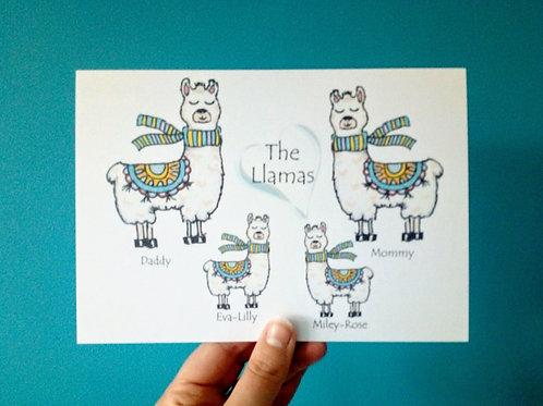 Llama Family Print