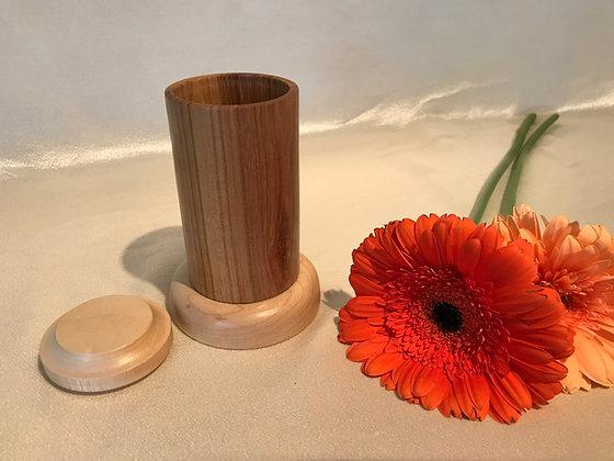 Walnut and maple Q-tip holder