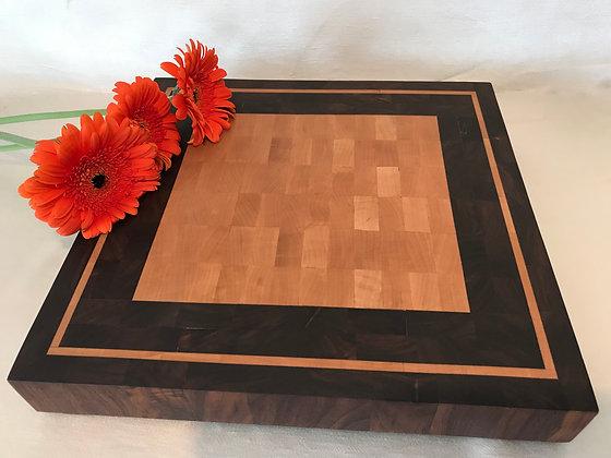 End grain cutting board in Walnut and Maple wood