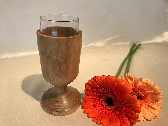 Wood and glass vase