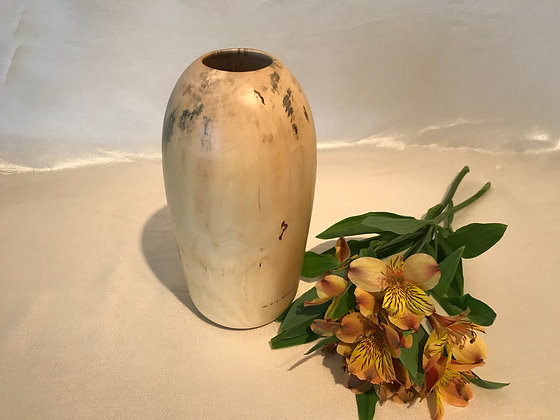 Hollow form vase in soft.  Maple wood