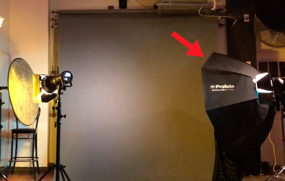 This photo has a 5 foot octabox on a strobe, which is being used to light the backdrop