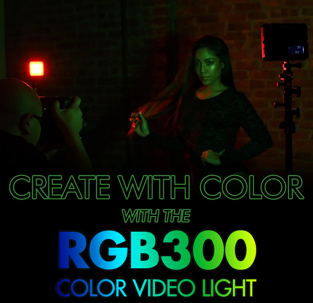 This photo is a commercial photo with a model in front of two color lights, red and green.
